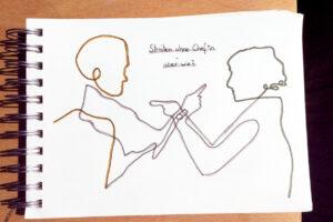Skizze mit sich streitenden Personen